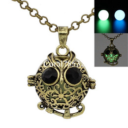 Wholesale Owl Locket Necklace - Antique Bronze Hollow Animal Owl Locket Wish Box Necklace for Perfume Aromatherapy Essential Oil Perfume Fragrance Diffuser