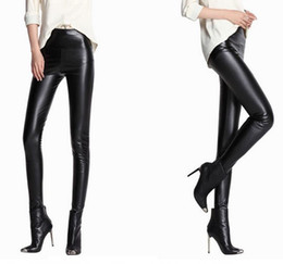 Wholesale Ladies Candy Color Pants - Fashion Women PU Faux Leather Slim Pants High Waist Leggings Pants Fleece Stretch Skinny Pencil Capris candy colors lady clothing xmas gift
