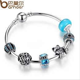 Wholesale China Pandora Bracelets - New Arrival 925 Silver FriendShip Charm bracelet for Women DIY blue bead Jewelry Fit Original pandora Bracelets Pulseira Gfit
