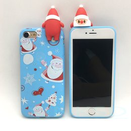 Wholesale Iphone Santa Case 3d - Merry Christmas Santa Claus Case 3D Cartoon silicone Soft Cover Skin for iPhone 8 X 7 6 6s 5 5s phone Cases 1pcs
