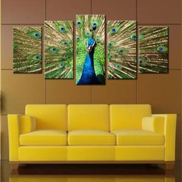 Wholesale Peacock Screen - Amosi Beautiful Canvas Oil Painting 5 Picture Shows Peacock Spread His Tail Realist Screen for Decoration