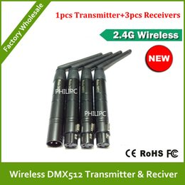 Wholesale Receiver Dhl Free - DHL Free Shipping 4pcs lot Wholesale XLR Wireless dmx512, Wireless dmx512 3PIN wireless dmx Transmitter and receiver