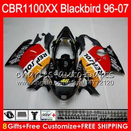 carenado de mirlo Rebajas Cuerpo para HONDA Blackbird CBR1100 XX CBR1100XX 96 Repsol naranja 97 98 99 00 01 81HM3 CBR 1100 XX 1100XX 1996 1997 1998 1999 2000 2001 Carenado
