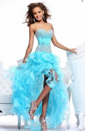 Wholesale Sweetheart Hi Lo Prom Dresses - Hi Lo Beading Prom Dresses 2016 Cheap Real Picture Lace up Satin Sexy Sweetheart Gowns Formal High Low Dresses Party Evening Gowns