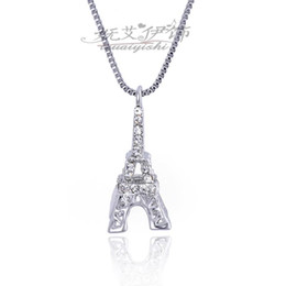 Wholesale Paris Wholesale Accessories - Fashion Accessories Eiffel Tower Charm crystal Diamonds Necklace Antique Paris Eiffel Tower Long Necklace Jewelry Free Shipping