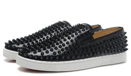 Wholesale Sports Loafers Shoes - wholesale New 2017 men black genuine leather with black spikes red flats sneakers,designer couples causal loafers sports shoes 39-46 free s