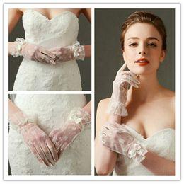 Wholesale Gloves Wholesalers - New Arrival bridal gloves lace Wedding Gloves Wrist Length Full Finger short Bride Gloves Wedding Accessories wed452
