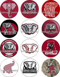 Wholesale Ncaa Wholesalers - Free shipping ALABAMA Elephant NCAA glass Snap button Jewelry Charm Popper for Snap Jewelry good quality 12pcs   lot Gl344 jewelry making DI