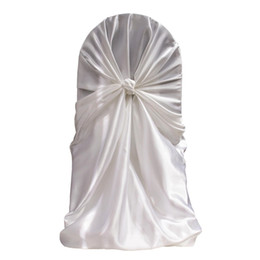 Wholesale Self Tie Satin Chair Cover - 2016 hot sale satin self-tie chair cover for wedding banquet party universal seat cover with free shipping