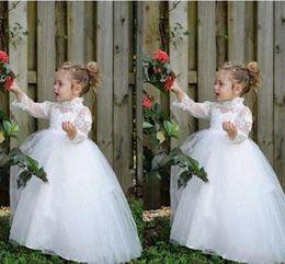 Wholesale Toddlers Ball Dresses For Cheap - Lovely Flower Girl's Dresses White Ivory Lace Tulle Long Sleeves High Neck Ball Gown Little Girls Dresses For Wedding Party Custom Cheap