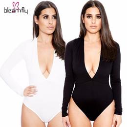 Wholesale Deep V Neck Jumpsuit Bodysuit - Black New Sexy Women Bodysuit Deep V Neck long sleeve One Piece Bandage Playsuit Jumpsuit Beach Swimsuits Bodysuits