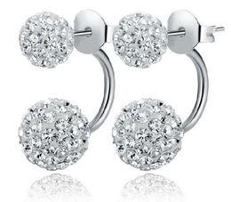 Wholesale White Shamballa - 8,10,12mm size Luxury brand Design Fine High Quality 925 sterling silver stud earrings for women Double Ball shamballa earrings