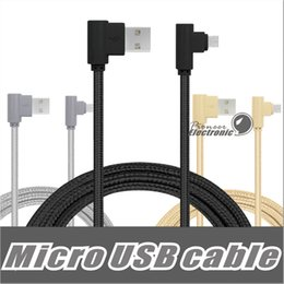 Wholesale Blackberry Data Transfer - 90 Degree Micro USB Cable 3.3ft 1m Charge Cords Nylon Braided Micro USB Charger Cable, Data Transfer cable for Samsung LG Android