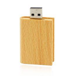 Wholesale Wooden Flash Drive - HanDisk Wooden Book USB Flash Drive 128MB 1 2 4 16 32 64 128gb Usb Pen Drive Portable Hard Drive Memory stick EU057
