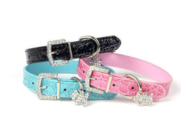 Wholesale Wholesale Croc Pet Collars - Croc Leather Dog Collars Leather Dog Puppy Collar Rhinestone pendant pet