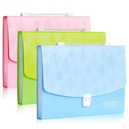 Wholesale Plastic Product Home - Wholesale-Free Shipping 13 Layers Document Bag File Folder Expanding Wallet Blue Green Pink Color Office Home School Filing Products