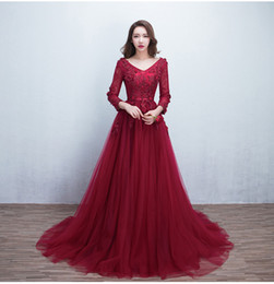 Wholesale Long Sleeved Purple Bridesmaid Dresses - mother of the bride dresses 2016 new burgundy sexy V-neck long sleeved lace Tulle bridesmaid dresses long section of high-quality