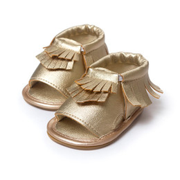 Wholesale Baby Crib Shoe Sizes - PU Leather Fringe Newborn Baby Girl Boy Crib First Walkers Soft Soled Summer Baby Moccasins Moccs Shoes 4558