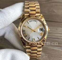 Wholesale Thick Mens Gold - Mens Day-Date EW 228238 40mm 18K Yellow Gold Case Wrapped Thick CRF Best Edition Silver Dial Roman Marker Bracelet 3255 Sport Watches