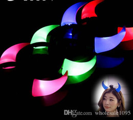 Wholesale Hawaii Costume - 400PCS Free Shipping DHL Halloween Costume Red LED Light Ladies Devil Horns Headband Halloween Light On Up Devil Horn Custome Red Headband