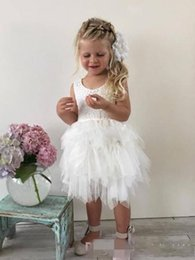 Wholesale Toddler Sleeveless Shirts - lace tulle flower girls' dress for toddler knee-length A-line tiered jewel backless lovely dress for wedding first cummunion