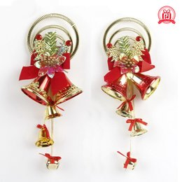Wholesale plastic christmas hanging ornament - The Christmas tree ornaments accessories 6 cm bells set hang Christmas tree accessories Red and gold color