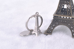 Wholesale Eiffel Tower Boy - 3D Metal Simulation Eiffel Tower Keychain French Souvenir Paris KeyChain Key Chain Key Holder Keyring Free shipping by DHL