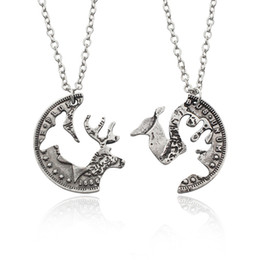 Wholesale Indian Stitch - Antique Silver Tone Round Hollow elk stitching necklace for girls trendy creative round pendant girlfriends lovers gifts 1pcs