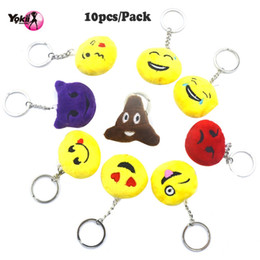 Wholesale Decoration Cars - YOKII Small size Emoji Pop Plush Pillows, Kids Party Supplies Favors,Car Keyring Pendant Emoji Keychain Decorations