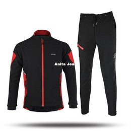 Wholesale Tight Gel - ARSUXEO Men's Cycling Jersey Clothing Sets Breathable Winter Thermal Long Sleeve Road Bike Bicycle Jersey+ Tights 3D Coolmax Gel Paded