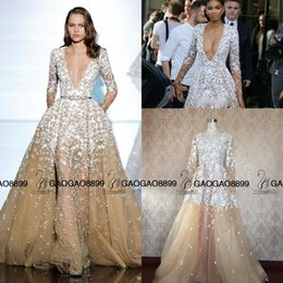 Wholesale Short Feather Prom Dress Cheap - 2016 Zuhair Murad Real Photo Champagne Lace Tulle Long Sleeve Overskirt Evening Dresses Sexy V-neck Mermaid Dubai Arabic Cheap Occasion Gown