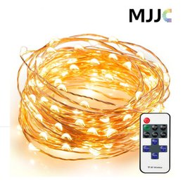 Wholesale Mini Led 12v - 33ft 100LED Starry Fairy String Lights Bright Mini LED Copper Wire with RF Remote Control Dimmer Adapter Dimmable Decorative Fairy Light
