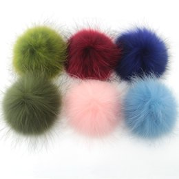 Wholesale Wholesale Accessories For Hats - Free Shipping 12cm 2pcs real raccoon fur pom poms ball car key chain fur hat winter hats for shoes fur cap accessories