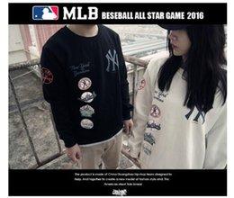 Wholesale Casual Baseball Sweater - 2017off white new tide brand NY baseball hoodies plus velvet head round kanye west neck sweater men and women couple winter coat