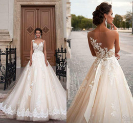 Wholesale Sexy White Dress For Weddings - Stunning 2016 Milla Nova Sheer Castle Wedding Dresses Ball Illusion Back Appliques Lace Chapel Train Cheap Bridal Gown For Western Style