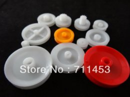 Wholesale Model Plastic Pulley - 2 bags 12 kinds Small Plastic Belt Pulley Gear Set Synchronization Round Toy Model Accessories Parts & Accessories