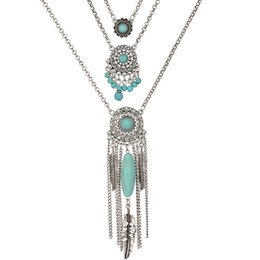 Wholesale Vintage Antique Silver Long Chains - Wholesale-2015 New Fashion Boho Turquoise Feather Vintage Long Tassel Totem Antique Silver Multi Layer Necklace for Women