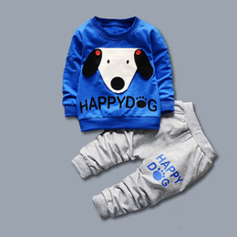 Wholesale Yellow Dog Clothes - New kids clothes 2017 Autumn Dog Pattern Clothing cotton kids top+pant set 2 pieces children long sleeve cartoon clothes suit 4s l