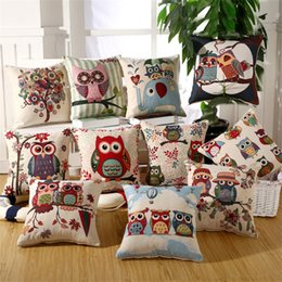 "Wholesale Owl Linen Cushion - 18X 18"" Cute Colorful Owls Couple Owls Cotton Linen Throw Pillow Cover Cushion Case Pillow Case Free Shipping"