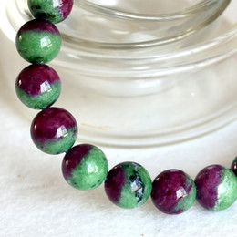 Wholesale Bracelet Half Beads - High Quality Natural Genuine Half Red and Green Ruby Zoisite Finished Stretch Bracelet Round Loose beads Jewelry DIY 04353