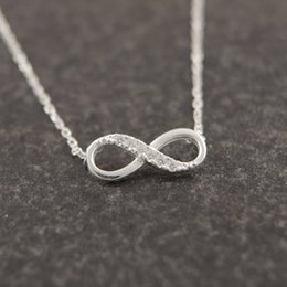 Wholesale Lucky Number Necklace - Wholesale-2016 New Tiny Infinity Crystal Pendant Necklaces for Women Simple Lucky Number Eight Geometric Women Silver Chain Necklace