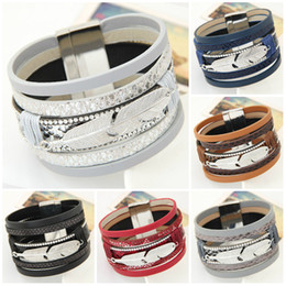 Wholesale Leather Cuff Bracelets For Women - Bracelets for Women Men Fashion Alloy Feather Leaves Wide Magnetic Multilayer Wrap Bracelets Jewelry Gift Leather Bracelets & Bangles
