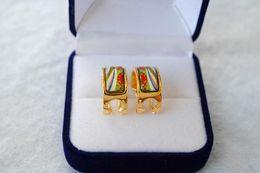 Wholesale Love Hoop Plating Earrings - Flower of Love series Hoop earring 18K gold-plated enamel earrings for woman Top quality hoop earrings