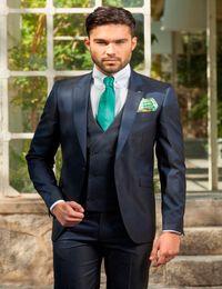 Wholesale Ceremony Suits Men - Wholesale-Wholesale 2016 one button Customized Wedding  Party Ceremony Groom Tuxedos Groomsman Suit (Jacket+Pants+Vest)