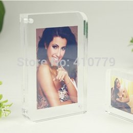 Wholesale Wholesale Magnets Picture - Wholesale-Free Shipping 3 pcs Lot Acrylic Magnet Photo Frame 7 Inch   178x127mm Diagonal Arc Design Plexiglass Clear Crystal Picture Frame