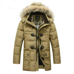 Wholesale Waffle Cotton Hat - Wholesale- BRAND Down Jacket Winter Jacket Men Coat 90% White Duck Long Thicken Outwear Hooded Real Fur Men's Parka Big Size 4XL