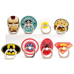 Wholesale Cute Phone Holders - New Arrival Universal Cute Cartoon Finger Ring Mobile Phone Holder Stands Cool Cartoon Superman Spider-man Smartphone Rings