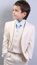 Wholesale Boys First Communion Suit - New Boys Tuxedo Good Looking Holy Communion Suit First White Chalice Tie Handsome Wedding Suits (Jacket+Pants+Vest)