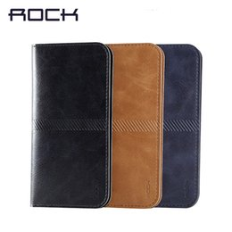 Wholesale Apple Business Credit - Original Brand ROCK Luxury Leather Wallet Bag Case Business Style Woman Man Purse Pocket Cover for iPhone 6 6s Plus Credit Card Slot