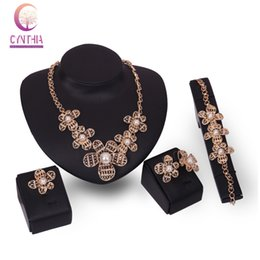 Wholesale Costume Jewelry Pearl Set - Bridal Jewelry Sets African Wedding 18k Gold Plated Crystal Simulated Pearl Trendy Collar Costume Necklace Earring Bracelet Ring